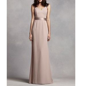 Long V Neck Crepe Gown with Open Back Biscotti